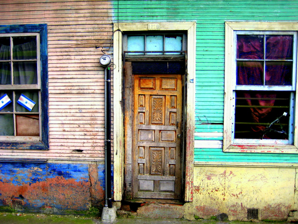 Colorful weathered door in Costa Rica
