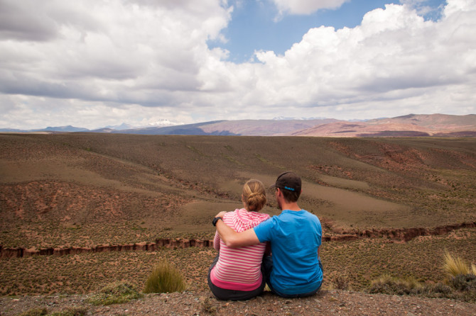 Start here, Landon and Alyssa looking over hills in Bolivia