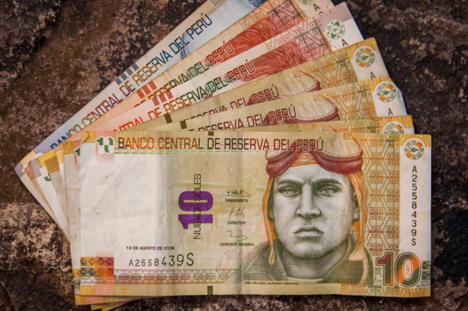 Bolivianos bills money and assortment of different denominations