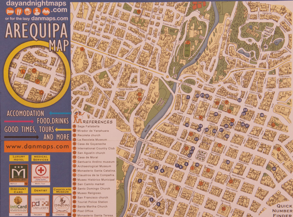 Map of Arequipa with street names
