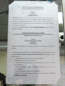 Official rules posted requiring onward ticket to home country and $500 for crossing border into Panama