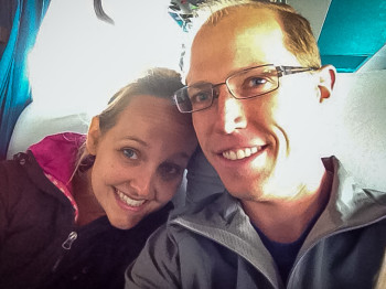 Landon and Alyssa on Long Bus Ride to Punta Arenas