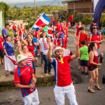 Costa Rican wins world cup 2014 and Waving Flags in the street
