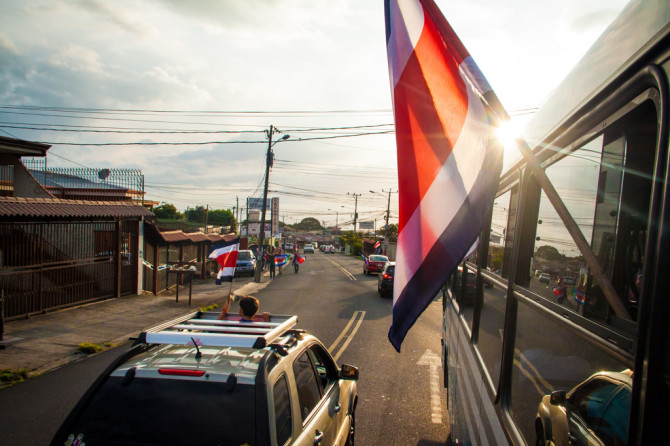 Costa Rica Flag from bus