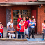 Disabled Handicap Costa Ricans celebrating world cup against Greece