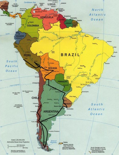 South America Map Intinerary