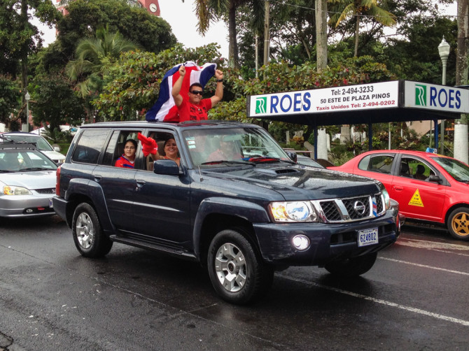 World Cup Costa Rica Stuns Uruguay Cars with Flags