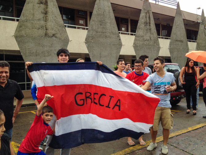 FIFA World Cup 2014 Costa Rica Stuns Uruguay and Flags in Grecia