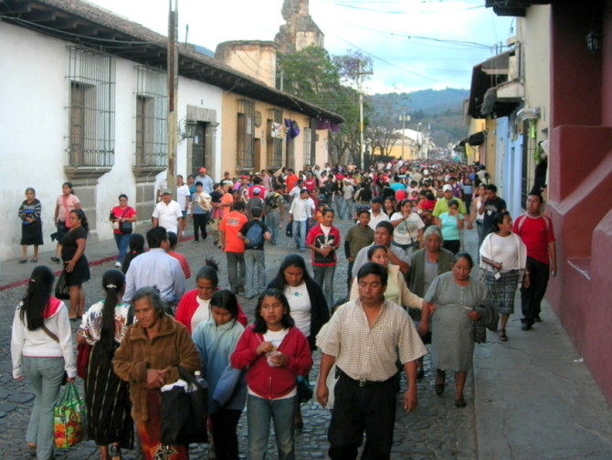 Busy Street with People Walking in Guatemala