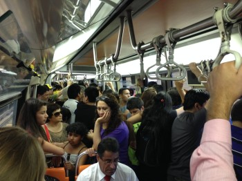 Crowded Subway Train with lots of People in Santiago, Chile