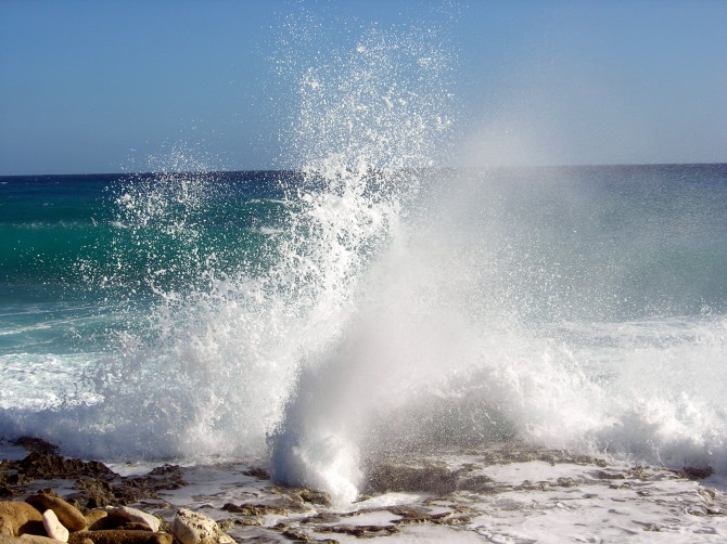 Ocean Waves crashing against rocks