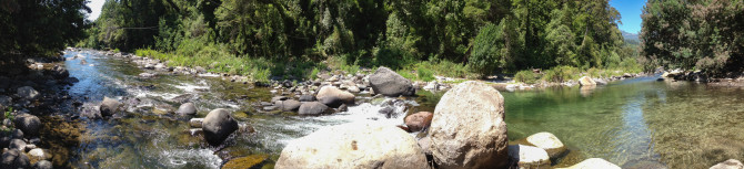 180 degree view of the river near Siete Tazas waterfalls