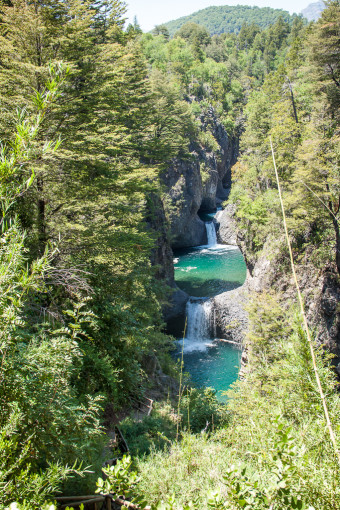 Siete Tazas Waterfalls with trees