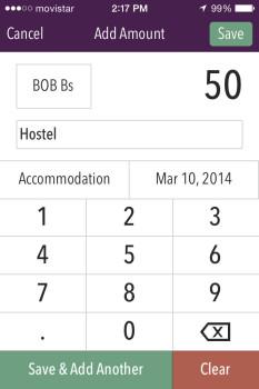 Trail Wallet app Screenshot Add Purchase Hostel