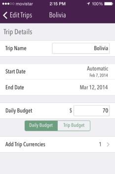Trail Wallet app Screenshot Add Trip