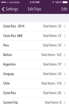 Trail Wallet app Screenshot Edit Trip List
