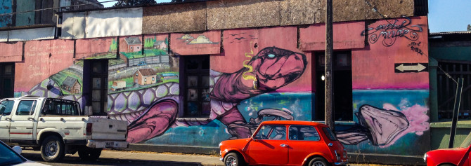 Chile photo gallery uneven sidewalks travel blog for Carpenter papel mural santiago chile