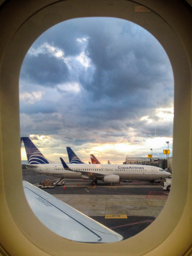 Airplane window, Looking out at other airplanes