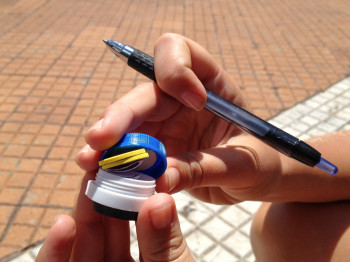 Geocaching at Buenos Aires with Contact Lens Case