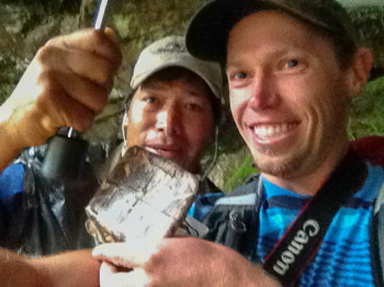Geocaching while traveling at Machu Picchu with Guide