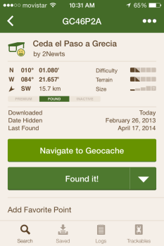 Geocaching iphone app showing geocache details