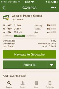 Geocaching iphone app showing geocache details