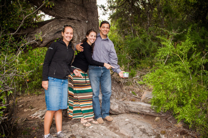 Geocaching with friends in San Martin de los Andes, Argentina