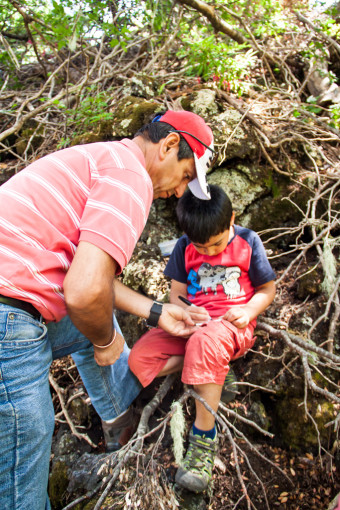 Geocaching with kids treasure hunting in Conguillio national park in Chile