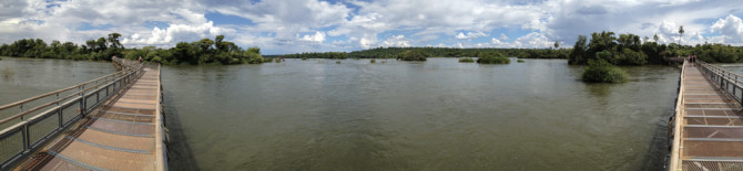 Iguazu Falls Bridge walkway 180 degree view
