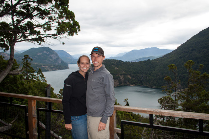 Landon and Alyssa at Viewpoint above Lake in Patagonia