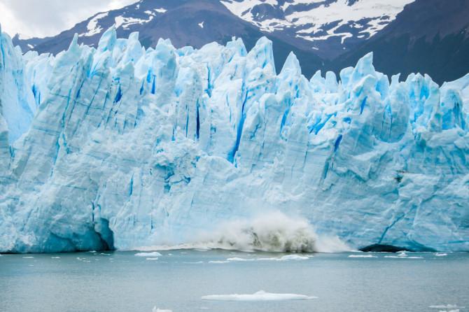 Glacier Calving into the Water