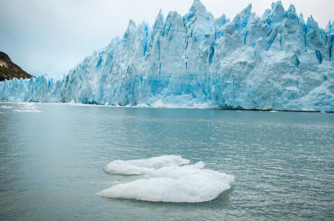 Perito Moreno Glacier from Boat with Iceberg in Front