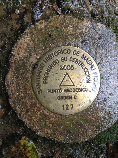Survey Marker at Machu Picchu