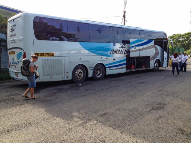 Alyssa Boarding Bus on Costa Rica Border Side