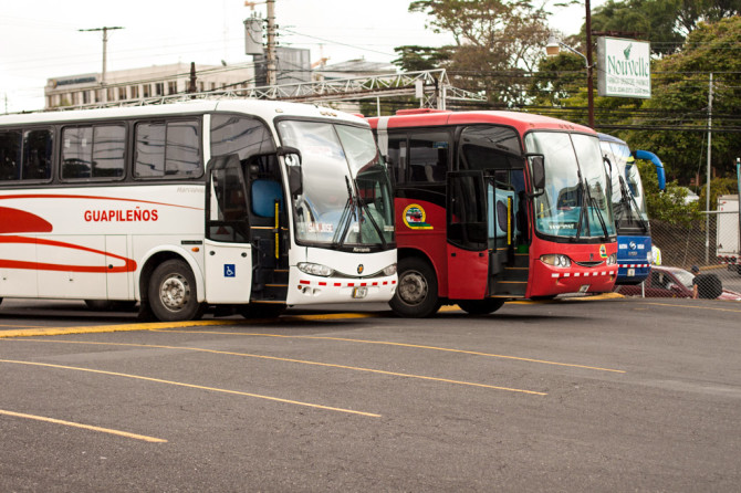 Buses in Costa Rica lined up