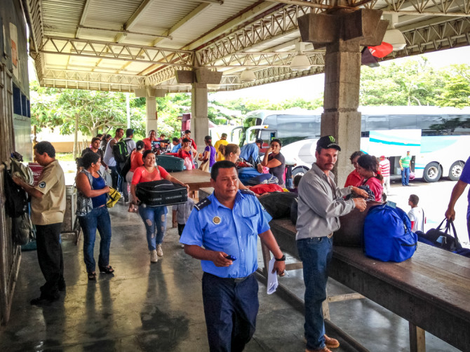 Customs Check Tables, to Cross the Border into Nicaragua