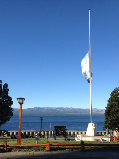 Lake and Flag in San Carlos de Bariloche
