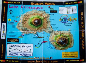 Map of Ometepe Island from Hacienda Merida
