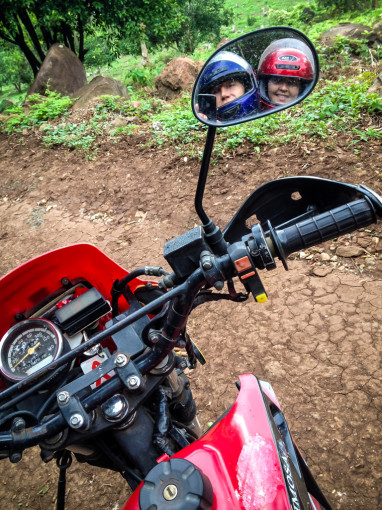 Motorcycle Selfie of Landon and Alyssa