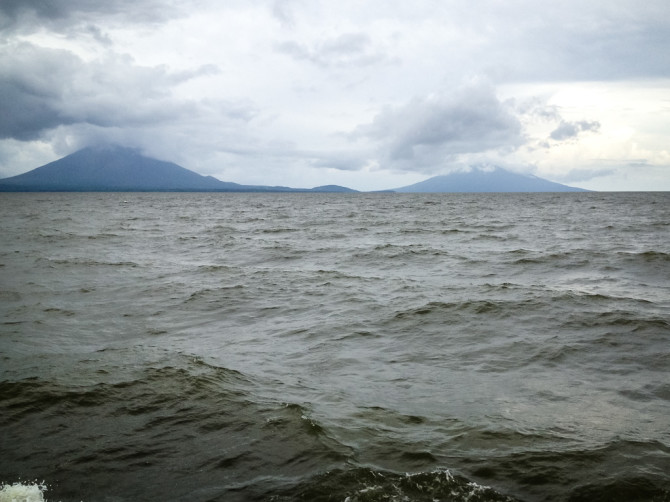 Ometepe Island Volcanoes Over a Rough Lake