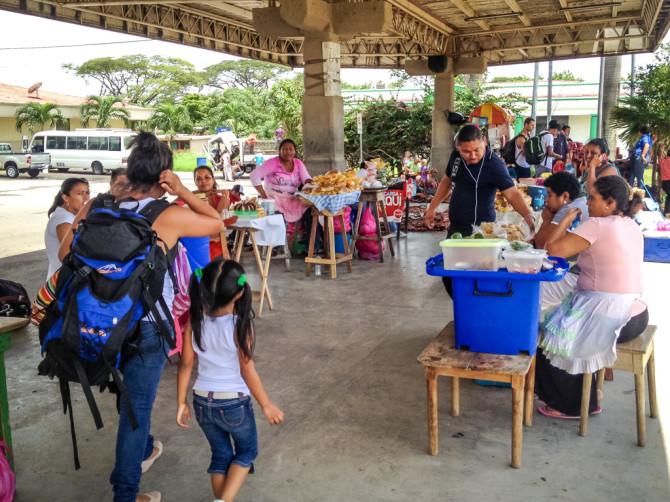 People selling food at Nicaragua Customs Area