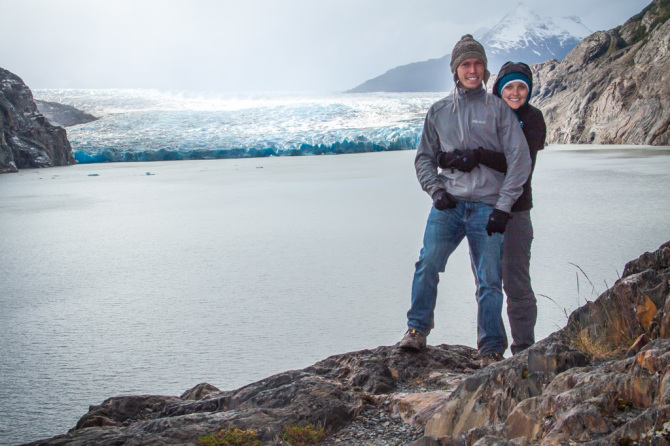 Landon and Alyssa Standing Next to Glacier at Torres del Paine