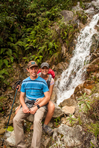 Landon and Alyssa at Waterfall in Machu Picchu