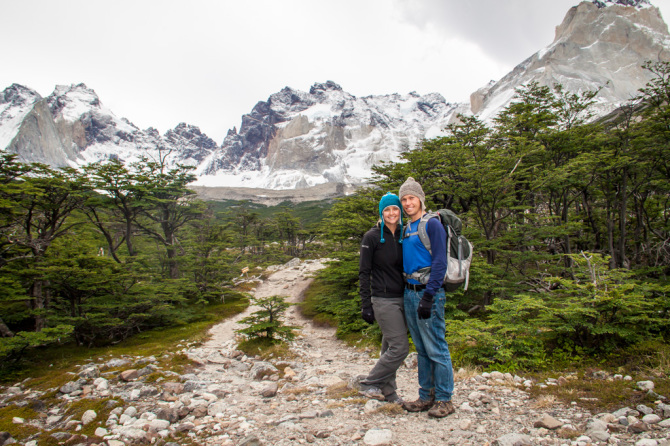 Landon and Alyssa in Front of Beautiful Mountains at Torres del Paine