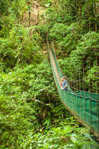 Landon and Alyssa after 1 Year of Living Abroad on Hanging Bridge in Arenal, Costa Rica