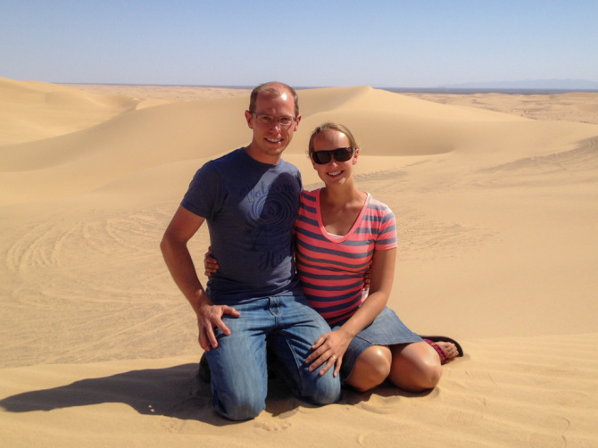Landon and Alyssa on Sand Dunes Living Abroad for a Year