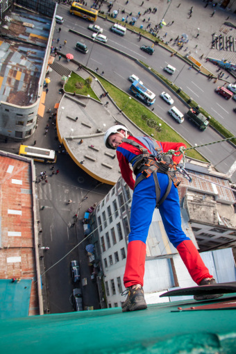 Landon Rappelling Down Hotel Dressed as Spiderman
