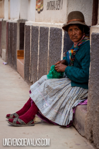 Indigenous Lady Chewing Coca Leaves in Bolivia