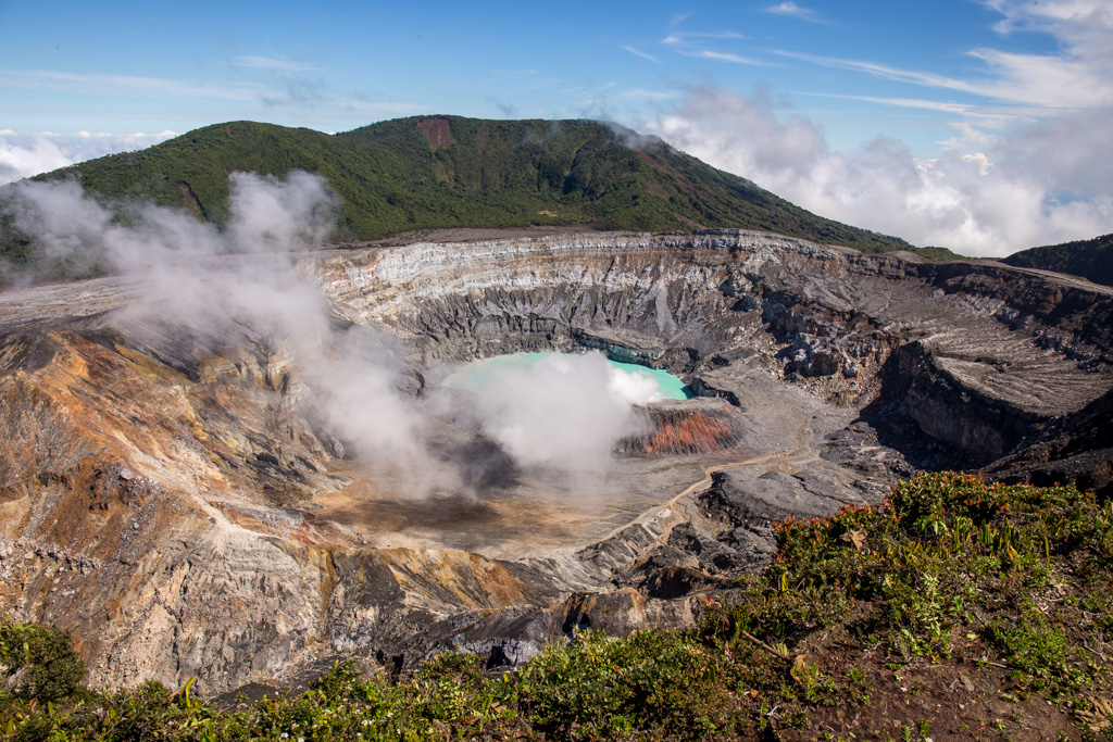 Poas Volcano Main Crater with Clear Blue Skies