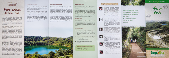 Poas Volcano Park Brochure Side 1
